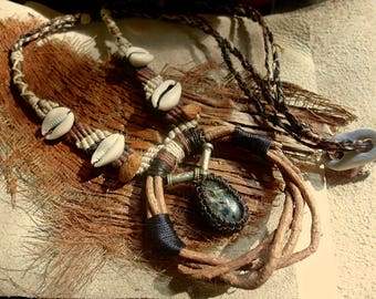 Tourmalinated quartz and Cats Claw Necklace