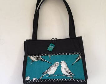 Blue Love Birds Handmade Tote Bag