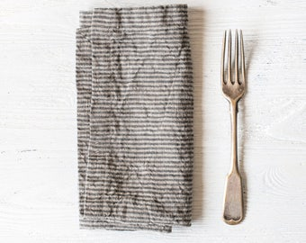 Washed large linen napkins / Set of 4, 6, 8 or 12 washed handmade linen napkins in stripes