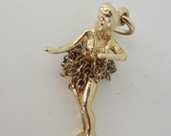 14k Yellow Gold Hula Girl Charm, Hula Jewellery, Gold Charms