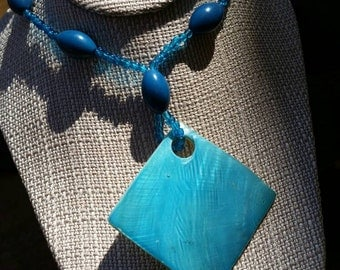 Beautiful Handmade Blue Glass Square Pendant with Blue Stone Bead Necklace