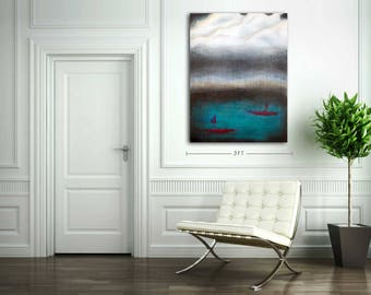 ORIGINAL Modern Art Abstract Painting Wall Decor Mixed Media Acrylic Watercolour Sailboat Painting