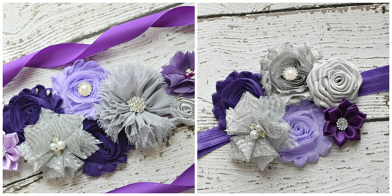 flower Sash and  headband set, Dark Purple violet and silver grey Sash , flower Belt, maternity sash, flower sash