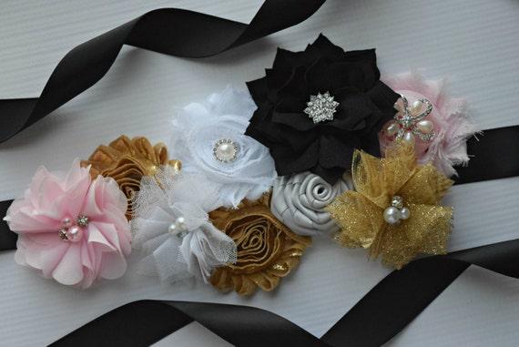 Sash, White  light pink silver and black Sash , flower Belt, maternity sash