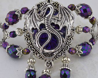 Dragon Charmer Hairstick Barrette - Medieval dragon barrette - Mother of dragons - purple dragon hair stick