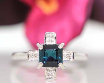 14k White gold Natural Blue Cap Tourmaline & VS Diamond Solitaire ring 1.23ctw