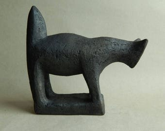Ceramic sculpture - black cat, cat figurine, cat sculpture