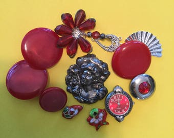 Vintage Buttons - Red and Silver Lot