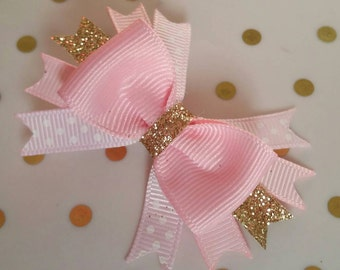 Pink Gold bows Glitter Sparkle Itty Bitty bow, Royal Princess, 1st Sparkle birthday bow photo, Baby headband bow, Tea Party, Half Smash Cake