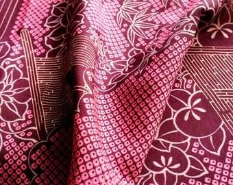 Vintage Japanese Kimono Silk Fabric **Hitta printing-A**