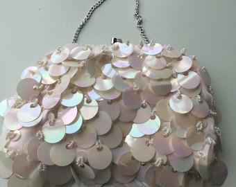 60s white sequin evening bag