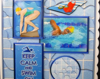 Handcrafted 3d Decoupage Female Swimmer/Swimming Birthday Card - Made in Uk - Competitive, keen