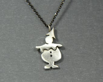 Pierrot Clown Charm Necklace Sterling Silver 925 Cool Funny Gift For Her Circus Clown Jester Pendant Juggler Necklace Layer Pendant