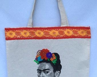 Frida Kahlo Canvas Tote Bag. Frida Hand Painted Tote Bag. Frida Canvas Shoulder Bag. Gift Friendly .