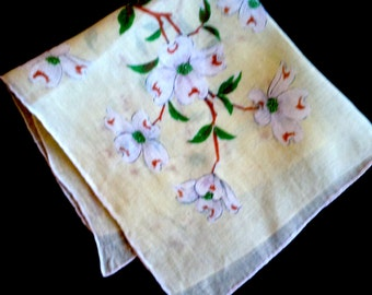 Vintage Yellow Dogwood Hanky, Bridal , Accessories, 1950's, Antique, handkerchief, hanky