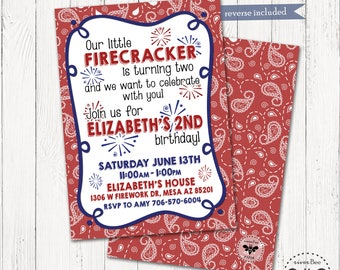 Firecracker, Red White & Blue Birthday Invitation Printable / Firework Birthday Party Digital Invite / Independece Day Party, 4th of July