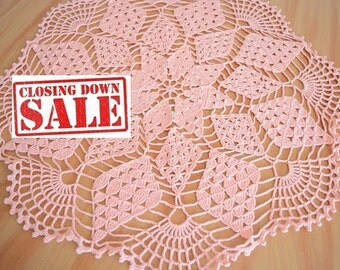 30 % off Extra large Crochet Pink Doily, Pink Placemat, New Hand Crochet Doily, Crochet Placemat, Round Doily, Crochet Lace Doily
