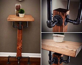 Rope Amp Pipe Desk Suspended Wood Wall Mounted Standing