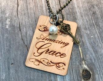 Amazing Grace Necklace, Group Gift Ideas, Group Discounts, Wedding Gifts, Laser Engraved, Customized Jewelry, Bursting Barns Laser Engraving
