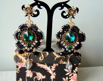 Earrings  Dolce Gabbana style -  Emerald night