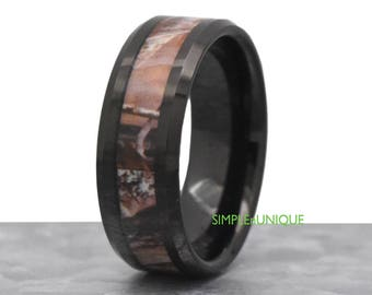 mens camouflage black tungsten ring camo ring mens mens camouflage wedding band camo - Mens Camo Wedding Rings
