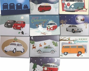 VW camper van , beetle and Karmann Ghia car Christmas cards retro designs (pack of 10)