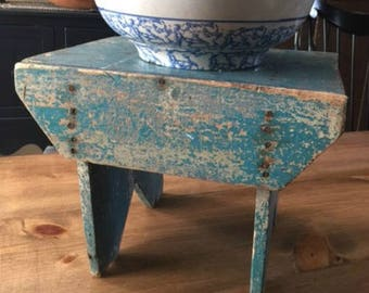 Robins Egg Blue Farm Stool