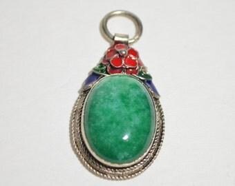 Antique Vintage Sterling Silver Natural Genuine Green Jade Jadeite Red Blue Green Enamel Pendant Necklace