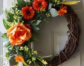 Summer Wreath, Orange Rose Wreath,Country Rustic Wreath, Roses Eucalyptus Wreath, Ready to Ship