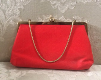 Vintage Satin Clutch, Red Clutch, Red Satin Clutch, Red Evening Bag, Vintage Red Bag, Evening Bags, Clutches, Satin Clutch, Red Purse