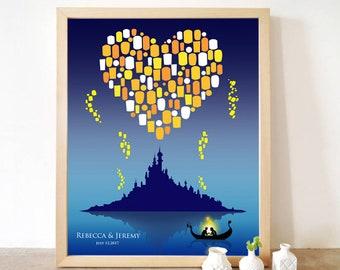 Printable Rapunzel Tangled Lantern Custom Wedding Guest Book Poster Print, 100 Signatures, Guestbook Disney Movie bridal shower Kids Nursery