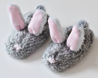 Baby shoes bunny grey, rabbit slippers, bunny booties, rabbit shoes, baby holiday gift, baby shower gift, basset, soft sale, babyBooties