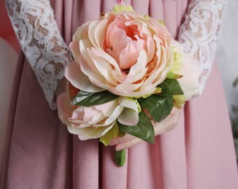 Wedding bouquet, bridal bouquet, peony bouquet, toss bouquet,bridesmaid bouquet, ivory pink peony, 5 stems peony bouquet,flowergirl bouquet