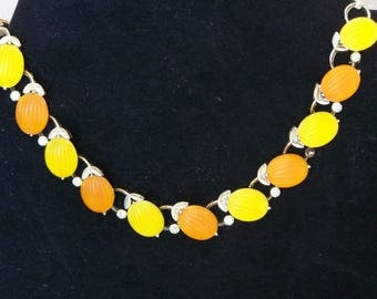 LISNER vintage orange and yellow thermoset necklace, so pretty!