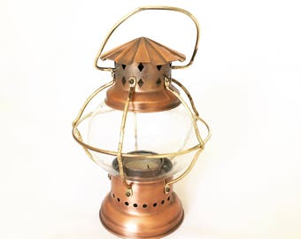 Vintage Copper and Brass Tea-light Lantern