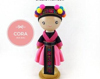 Cora (Ka Sia) - Hmong Doll Mini-Stand