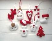 Christmas felt ornaments tree Handmade Set 10 small gifts Rustic decor felt ornament decorations Christmas white red