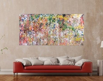 Original abstract artwork on canvas ready to hang 100x200cm #440