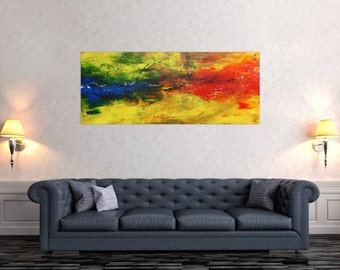 Original abstract artwork on canvas ready to hang 60x150cm #609