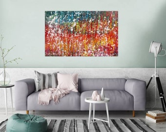 Original abstract artwork on canvas ready to hang 80x130cm #778