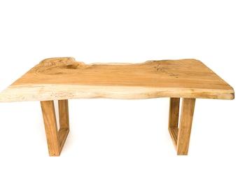 Rustic Live Edge Teak Dining Table 5.9ft SKU1605-5B (RAW)