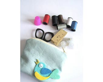 sewing kit with blue faux leather coin purse sewing pouch small sewing kit