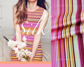 Pink Yellow Stripes Silk fabric by the yard