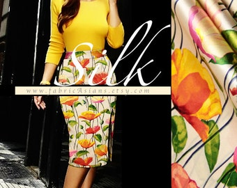 Beige Silk orange flowers skirt fabric