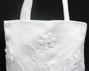 White Pearls Pattern Purse Handbag for 1st Communion Christening Wedding Bridal Flower Girl PW2