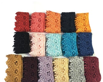 """1.75"""" Wide -- 16 Colors Blue Black Red Orange Gray Lilac Navy Floral Trimming Venice Lace Trim Sewing Notions Supplies UB201"""