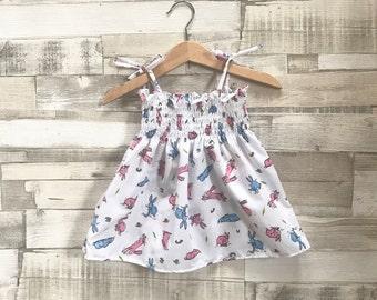 Baby White Sundress | Rabbit Print Dress | Baby Smocked Dress | Patterned Summer Dress | Bunny Pattern Dress