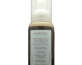 Liquid African Black Soap Facial Cleanser 8 oz - Acne Face Wash - Acne Scars - Foam Cleanser - All Natural