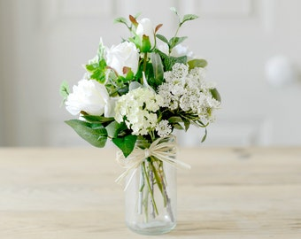 Artificial Flowers White Rose Blooms With Vintage Style Vase | Silk White Roses & Flower Posy| Faux Home Or Wedding Flower Arrangement