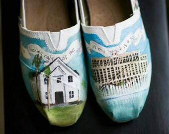 Bride's Love Story Wedding Shoes, Custom Hand Painted Shoes, Unique Wedding Shoes, Custom TOMS, Wedding Flats, Painted Wedding Shoes